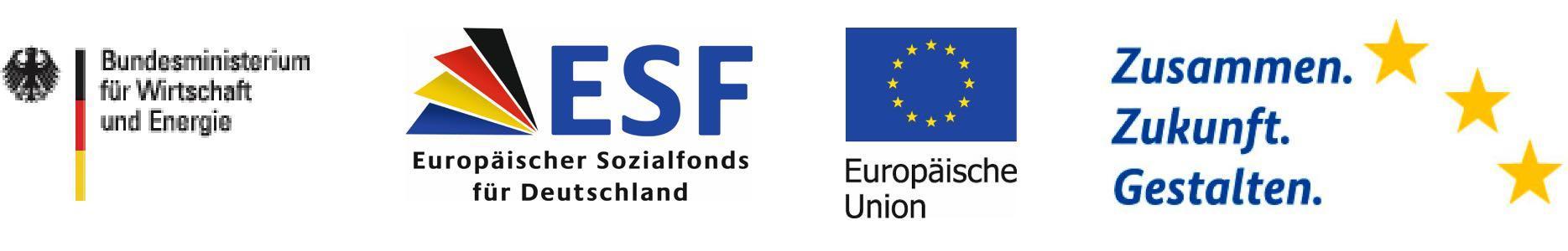 Logos BMWI, ESF, EU, Zusammen. Zukunft. Gestalten.